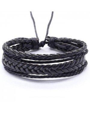 Verstelbare gevlochten leren Multi armband Zwart
