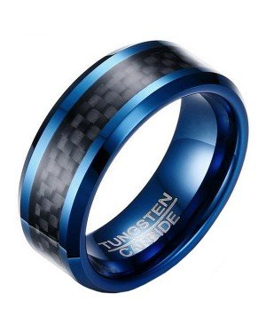Wolfraam heren ring Carbon Fiber Blauw Zwart 8mm