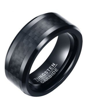 Wolfraam heren ring Carbon Fiber Zwart 8mm