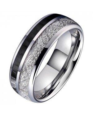 Wolfraam heren ring Carbon Vermiculiet Inlay