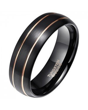 Wolfraam heren ring Classic Groove Rose 8mm
