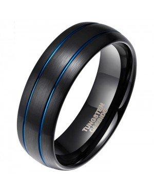 Wolfraam heren ring Classic Groove Zwart Blauw 8mm
