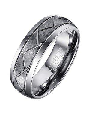 Wolfraam heren ring Diagonale Groeven