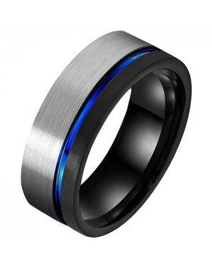 Wolfraam heren ring Groef Zilverkleurig Zwart Blauw