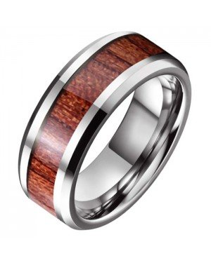 Wolfraam heren ring Tom Jaxon Zilverkleurig Glans Palissander Inlay