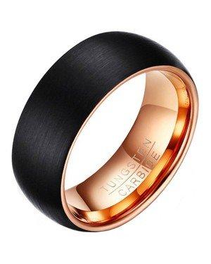 Wolfraam heren ring Zwart met rose 8mm