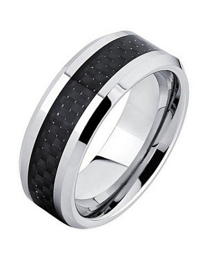 Wolfraam ring Carbon Fiber Zilver Zwart 8mm