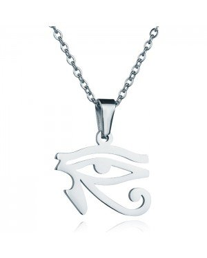Zilverkleurige dames ketting Edelstaal Oog van Horus