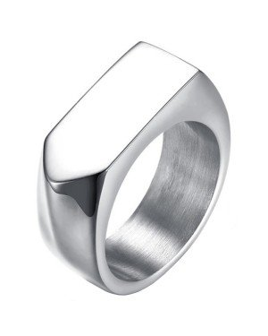 Zilverkleurige stalen zegelring Mendes Jewelry