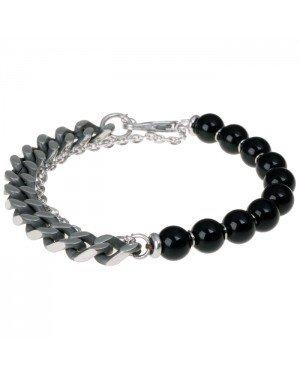 Zwarte kralen armband met RVS Link Chain
