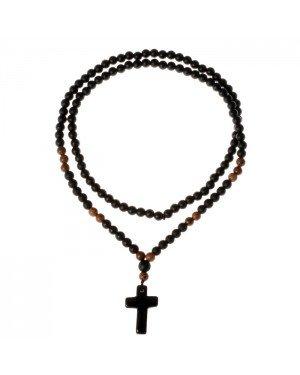 Zwarte natuursteen kralen ketting Kruis
