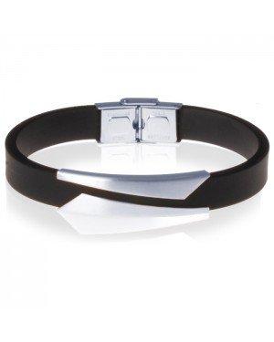 Zwarte Siliconen armband RVS Element Zilver