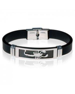 Zwarte Siliconen armband RVS Schorpioen Zilver
