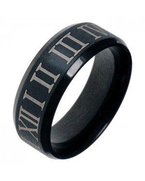 Zwarte stalen ring met Romeinse Cijfers