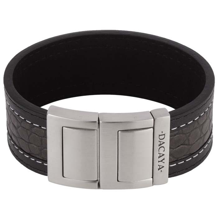 Dacaya armband Croco Grey Black 28mm F116428