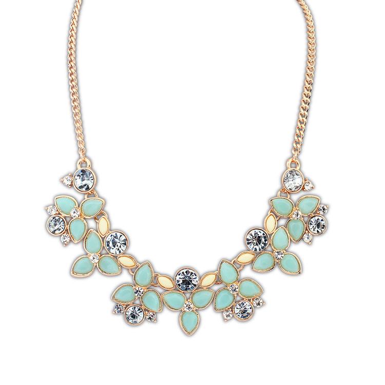Dames Choker Goud Leaf Rhinestone Turquoise