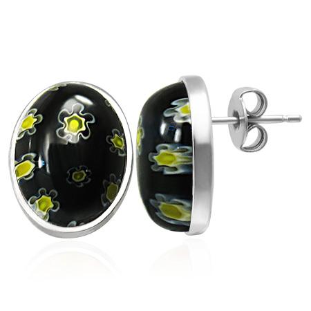 Dames edelstaal oorbellen Black Glass Flower Stud