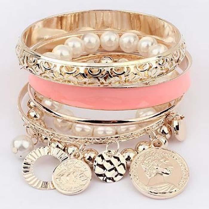 Dames Fashion Bangle Pearl Coins Pink