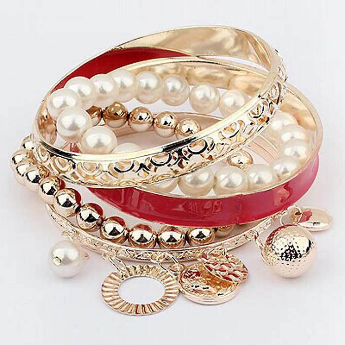 Dames Fashion Bangle Pearl Coins Red
