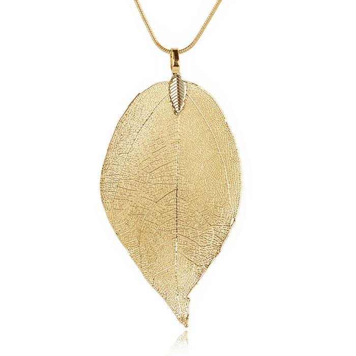 Dames ketting Blad Kettinghanger Leaf Slang Ketting Goudkleurig