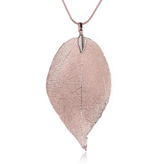 Dames ketting Blad Kettinghanger Leaf Slang Ketting Rose