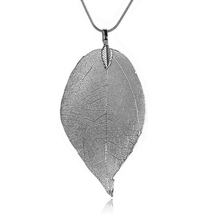 Dames ketting Blad Kettinghanger Leaf Slang Ketting Grijs