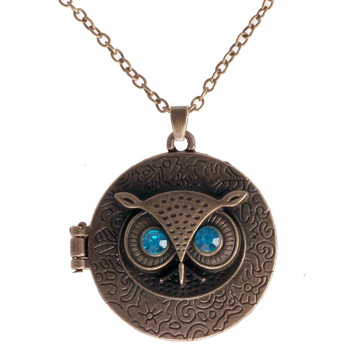 Dames ketting Blue Eye Owl Locket