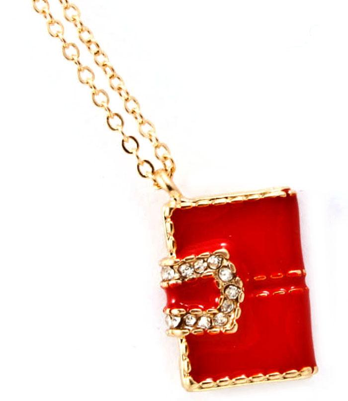 Dames ketting voorzien van hanger in de vorm van een tasje, afgewerkt met kleine zirkonia steentjes. voor de ...