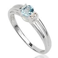 Dames ring 925 zilver Blue Topaz Cubic Zirconia