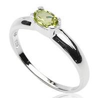 Dames ring 925 zilver Peridot Oval