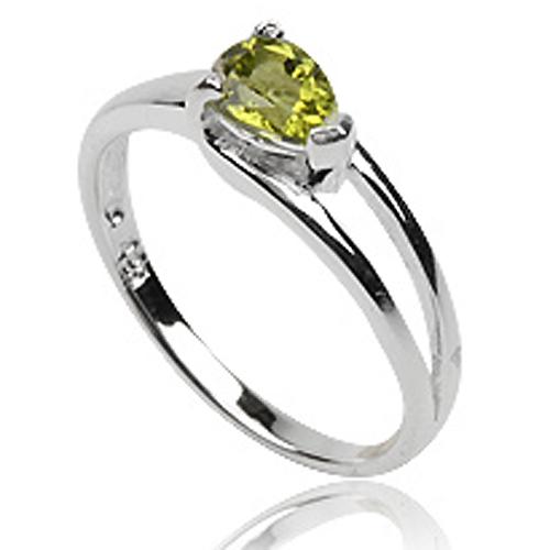 Dames ring 925 zilver Peridot Pear Edelsteen