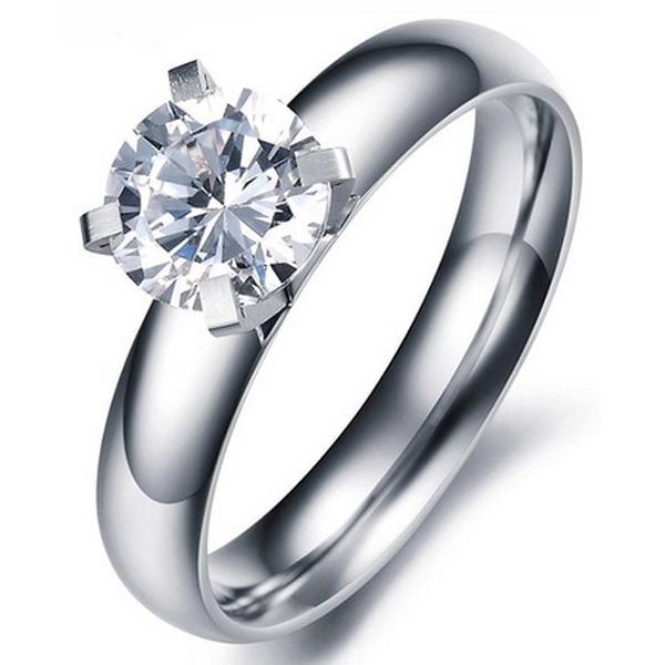 Dames ring Edelstaal Zilverkleurig LGT Jewels Round Crystal