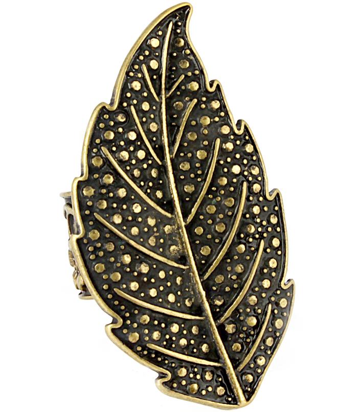 Fashion dames ring Leaf