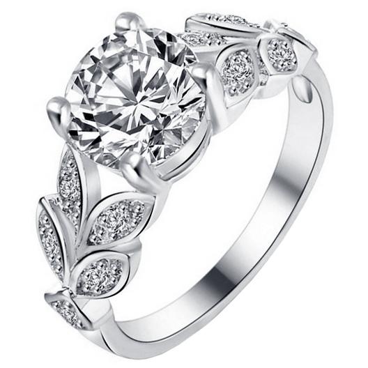 Dames ring LGT Jewels Crystal Leaf