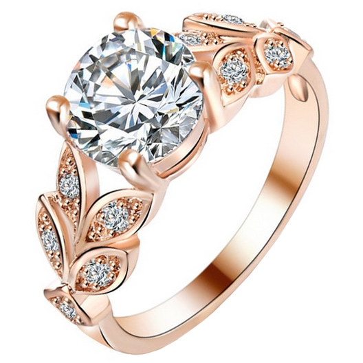 Dames ring LGT Jewels Crystal Leaf Rose
