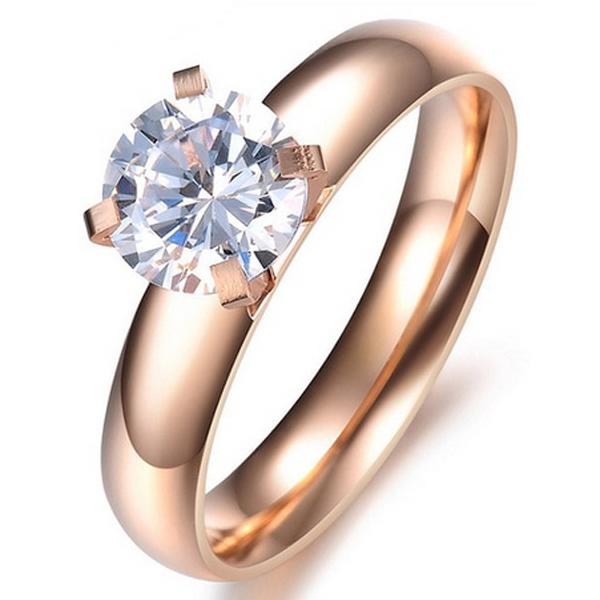 Dames ring Rose Verguld Edelstaal LGT Jewels Round Crystal