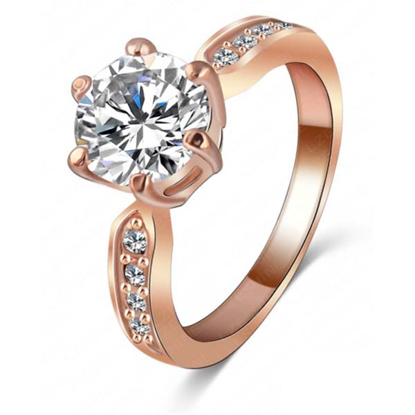 Dames ring zirkonia 18krt rose verguld