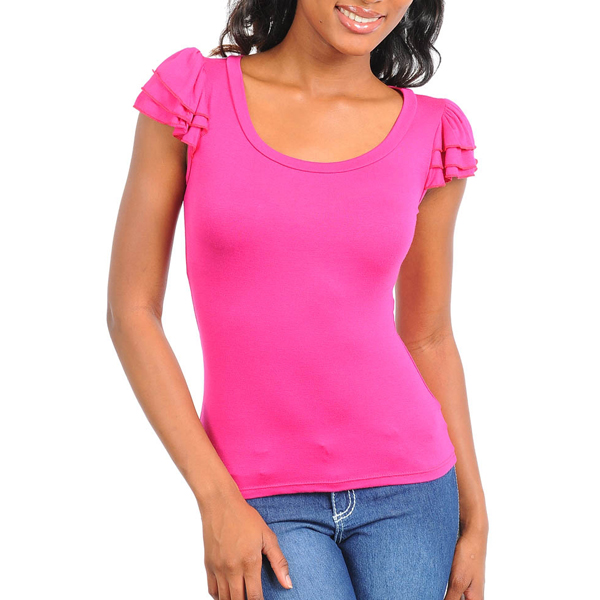 Dames Top Ruffles Pink