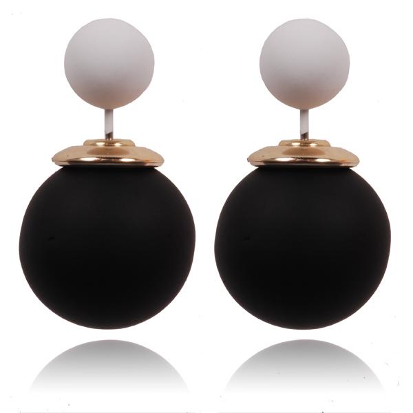 Double Dots oorbellen Pastel Zwart