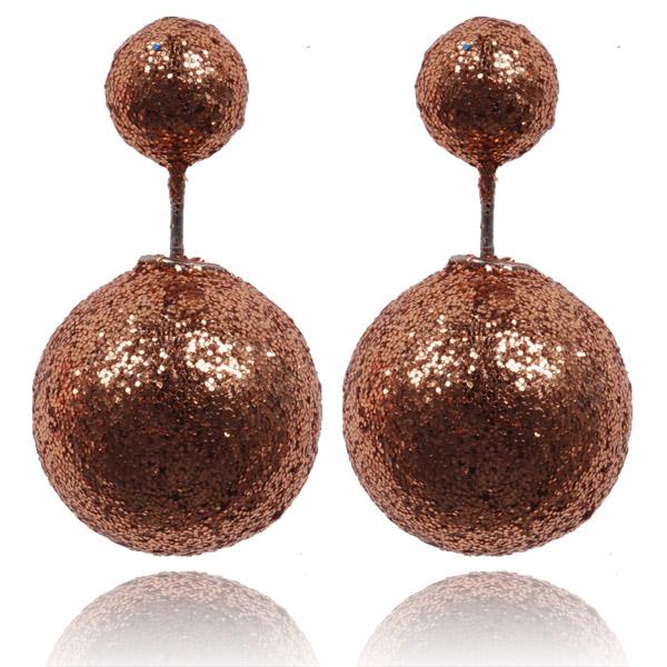 Double Dots oorbellen Shiny Brown