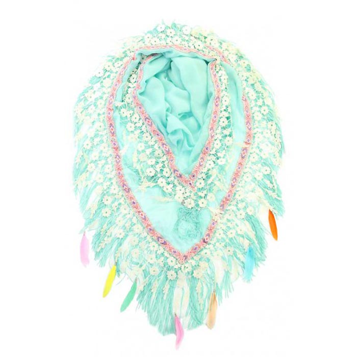 Driehoek sjaal Groot Feathers Mint