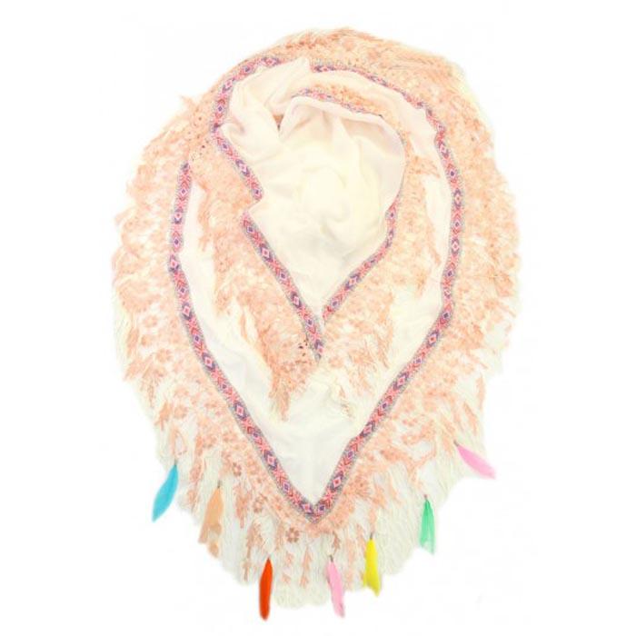 Driehoek sjaal Groot Feathers Wit