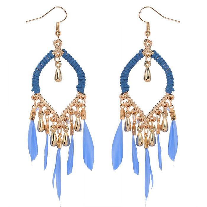 Drop oorbellen Goud met blauwe veren