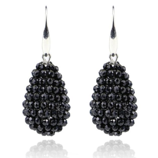 Druppel oorhangers Kristal Zwart met Zilver