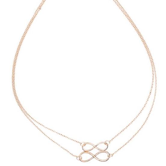 LookingGoodToday, Dubbele dames ketting goudkleurig Infinity kettinghanger