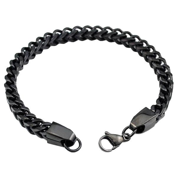 Edelstaal heren armband Box Link Black 3mm