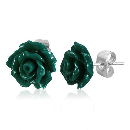 Edelstaal oorbellen Green Rose Flower