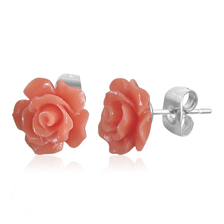 Edelstaal oorbellen Orange Rose Flower