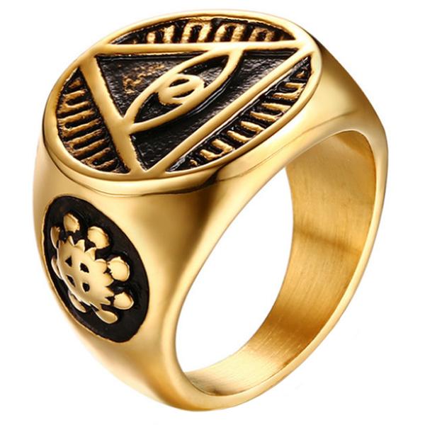 Edelstaal zegelring voor mannen Eye Of Providence Gold