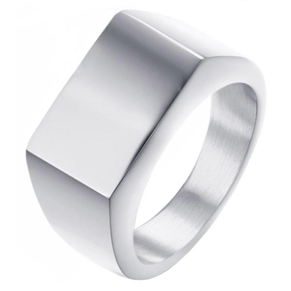 Edelstaal zegelring Zilverkleurig van Mendes Jewelry